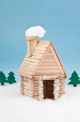 "Popsicle Stick Log Cabin. Whether you're a Popsicle lover, saving and washing each stick or buy a new box at the craft store, making this ""little House on the Prairie"" Cabin is lots of fun."