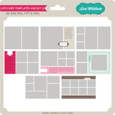 """These templates are a part of Lori Whitlock's """"Life Templates"""" Series. They are perfect for recording your everyday moments in a photo journal style. This kit Includes four 4x6 PSD, TIFF, and PNG Templates."""