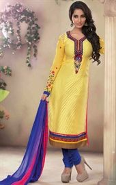 Picture of Fancy Yellow Color Brasso Churidar Suit