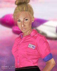 Flight Attendant at WIzz Air Digital Portrait Painting by Szani Lee (Instagram: @szanilee)