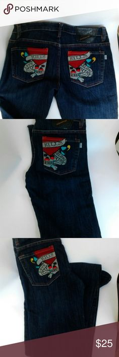 Ed Hardy jeans Blue denim jeans, boot cut.  Excellent condition. Ed Hardy Pants Boot Cut & Flare