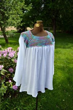 Beach Coverup - Peasant-style blouse with   #crochet
