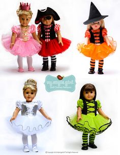 "This is the perfect halloween costume pattern! Tutu Cute PDF Sewing Pattern for 18"" Dolls! Change the fabric to create any new look: Ballerina, Witch, Pirate, Fairies, Princess, and more! Tutu Cute Story Book Dress-Up Costume Dress 18"" Doll Clothes available at PixieFaire.com"
