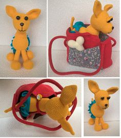 A crochet dog in a bag with linen backing and a pocket.  A cute crochet dog will become a good friend to your children (especially if they are allergic to animals or have not had any experience of keeping a pet). It is easy to take it for a walk in the beautiful bag. The bag can be buttoned up to fix the dog safely inside. The set also includes a bone for the dog not to get hungry after the walk and a skirt.  The dog can sit and stand.  The eyes are made of large beads sewn onto the muzzle…