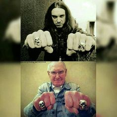 Ray Burton (Cliff's dad) with Cliff's rings on. #Repost @everything_metallica ・・・ Forever Cliff! 👊💀👊 #BassLegend