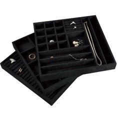 Jewelry Organizer Tray 4 Stackable Trays Lid with Mirror 27
