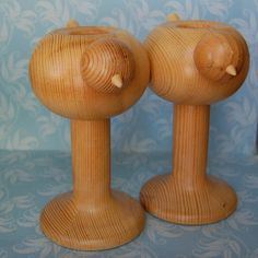 Vintage Bird Aarikka Wooden Candle Holders from Finland