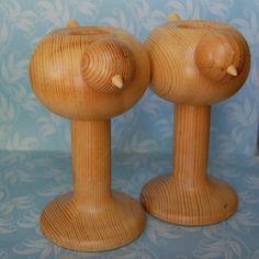 Vintage Bird Aarikka Wooden Candle Holders from Finland