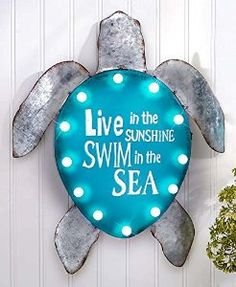 Amazon.com: Lighted Nautical Turtle Seaside Coastal Beachside Wall Hanging Summer Beach Sign: Home & Kitchen