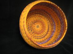 Large Orange and Purple Basket by QuiltedBliss on Etsy