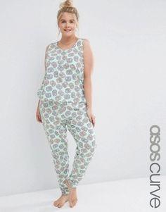 ASOS Curve | ASOS CURVE Flumps Marshmallow Print Tee and Short Pyjama Set at ASOS