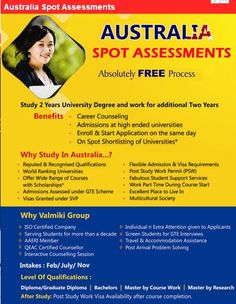 Australian Universities Spot Assessments for various courses.Contact us today !