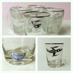 SET of 4 STERLING Silver on CRYSTAL HIGHBALL GLASSES Air Kaman LEARJET AIRPLANE