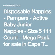 Disposable Nappies - Pampers - Active Baby Junior Nappies - Size 5 111 Count - Mega Pack for sale in Cape Town (ID:272244678)