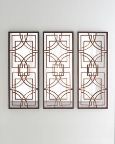 Visually stunning Kiely Mirrored Panels from Horchow- awesome wall decor option!  Would look great going vertical or horizontal above a bed or sofa, in a dining room or entryway.