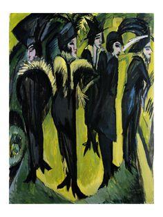 Ernst Ludwig Kirchner [German Expressionist Painter and Sculptor, Five Women on the Street, 1913 oil on panel Museum Ludwig (Germany) Ernst Ludwig Kirchner, Berlin Street, Street Art, Museum Ludwig Köln, George Grosz, Degenerate Art, Emil Nolde, Davos, Art Prints For Sale