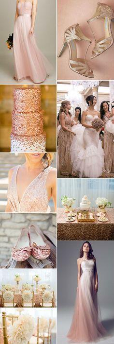 beautiful rose gold wedding inspiration of metallic color palette