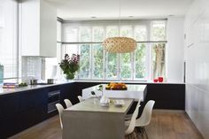 dark base cabinets and light uppers...lots of windows from desire to inspire