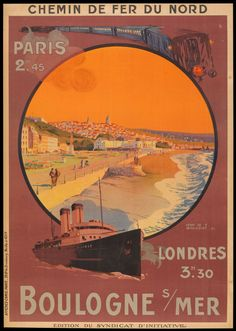 'Vintage Travel Poster France - Boulogne sur Mer ' by MarcFugazi Pub Vintage, Vintage Films, French Beach, A4 Poster, Poster Wall, Tourism Poster, Travel Ads, Railway Posters, Vintage Travel Posters