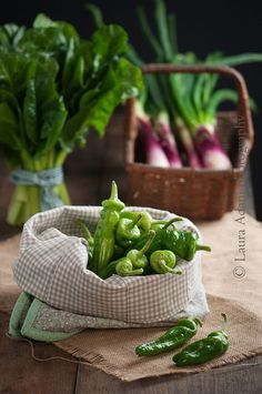 Sweet green chillies, chards and spring onions