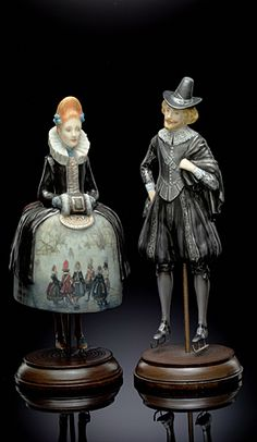 Dutches pair ( ice rink)  Biscuit porcelain. Hand painting. LE 150; 7 inches tall.