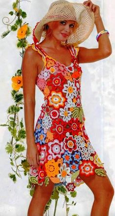 So cute for someone much younger than me - crochet sundress made from different flower and leaf motifs.  http://kru4ok.ru/yarkijj-sarafan/