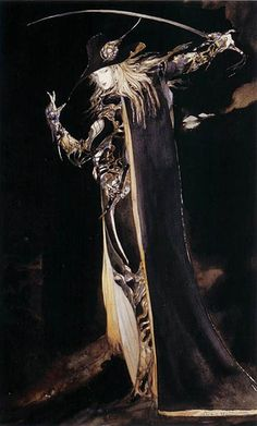 From my 'Coffin: The Art of Vampire Hunter D' artbook by Yoshitaka Amano. Highlighted Chosen by LordWe and Marissa Proposed by LordWe and highlighted by Marissa. Vampire Hunter D, Dark Fantasy, Fantasy Art, Yoshitaka Amano, Fantasy Illustration, Japanese Artists, Dark Art, Oeuvre D'art, Les Oeuvres
