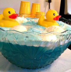 """Have blue punch """"Bathwater Punch"""" and top it off with some rubber duckies for a baby shower if it's a boy! #Cute #Ducks #Baby Boy Party"""