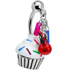 Top  Drop Sprinkle Cupcake Belly Ring