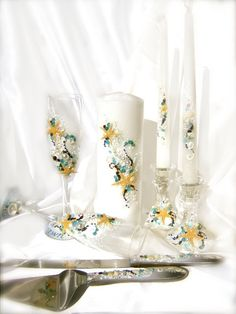 Unity Candles, Toasting Flutes, and Cake Serving Set