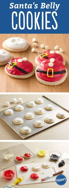 Is there anything cuter than these Santa Belly Cookies? Learn how to make these fun Christmas cookies. They are great to leave out for Santa and your kids to add a little bit of jolly to the holidays! Also, this recipe is perfect for if you are hosting a cookie swap, exchange or party.