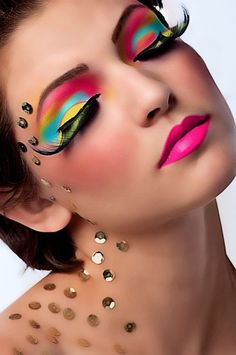 Rainbow colors and crystals makeup  #style #fantasy #beauty #makeup #cosmetics #editorial #photography #runway