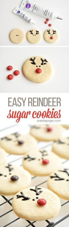These reindeer sugar cookies are really easy to make and they look ADORABLE! The cookie recipe is so good! Perfectly even cookies, with no chilling required! (no bake christmas cookies simple) Christmas Deserts, Noel Christmas, Holiday Desserts, Holiday Baking, Holiday Treats, Holiday Recipes, Thanksgiving Treats, Light Desserts, Easter Desserts