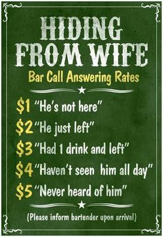 Hiding From Wife Bar Phone Fees Poster Poster 68bf5a502