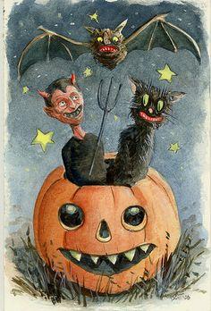 My Hand Painted Halloween Postcard - Halloween Suggestions Vintage Halloween Photos, Retro Halloween, Halloween Items, Halloween Signs, Halloween Pictures, Holidays Halloween, Halloween Crafts, Halloween Decorations, Happy Halloween