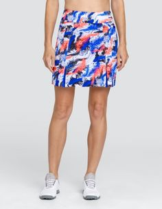 """#lorisgolfshoppe Women's Golf Apparel offers a classy collection of golf skorts, shorts, dresses, and golf tops. You gotta see this AZURITE GLOW (Pluma) Tail Ladies Dalton 18"""" Pull On Golf Skort with unique , pretty colors!"""