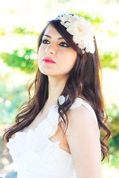 Bridal headband, bridal headpiece, wedding hair accessories, wedding headband, ivory flower hair crown on Etsy, $50.00