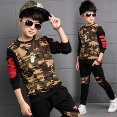 Children Clothing Sets For Boys Camouflage Sports Suits Autumn Kids Tracksuits 2016 Teenage Boys Sportswear 6 8 9 10 12 14 Years Teenage Girl Outfits, Baby Boy Outfits, Kids Outfits, Cool Outfits, Elle Fashion, Boy Fashion, Swag Fashion, New Fashion Clothes, Fashion Outfits