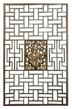 A very eclectic inspirationf or a wall screen. Amazing material and golden details New Chinese, Chinese Style, Chinese Interior, Stencil Printing, Japan Architecture, Wooden Screen, Chinese Furniture, Asian Design, Asian Decor