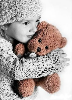 extreme cuteness / photography with a splash of color / touch of brown / teddy bear