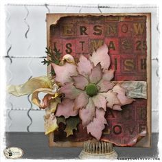 Tattered Poinsettia Card