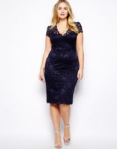 Lipstick Boutique V Neck Body-Conscious Lace Dress from ASOS
