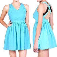Damen Kleid elegante Kreuz Spitze V-Ausschnitt Ärmellose Behälter Kleid Röcke Dress: Amazon.de: Bekleidung