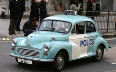 Police cars of yesteryear, The Morris Minor 1000 and the Austin 1100 are the archetypal panda cars used by beat bobbies for the visits to local primary schools to deliver a road safety talk