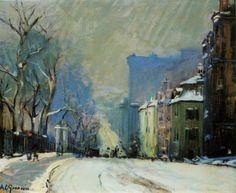 Arthur C. Goodwin (1864-1929) Beacon Street in Winter Oil On Canvas