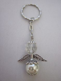Lote de 24 Adorable Ángel llaveros marfil cristal perlas y Faceted Glass, Glass Beads, Key Rings, Ivory, Dragon Flies, Personalized Items, Weights, Metal, Silver