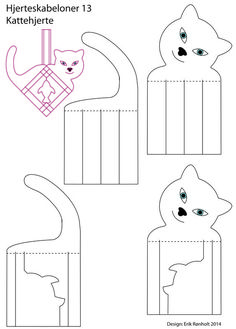 Cat Crafts, Animal Crafts, Crafts For Kids, Arts And Crafts, Christmas Hearts, Christmas Paper, Danish Christmas, Heart Template, Paper Weaving