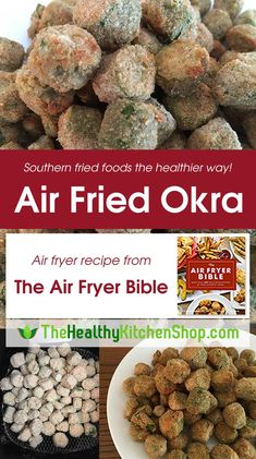 Air Fried Okra Recipe from The Air Fryer Bible Cookbook, The Healthy Kitchen Shop - We wrote the book on air fryer cooking! It's called The Air Fryer Bible, and this Air Fried Okra - Air Frier Recipes, Air Fryer Oven Recipes, Air Fryer Dinner Recipes, Air Fryer Recipes Vegetables, Veggies, Power Air Fryer Recipes, Air Fryer Recipes Appetizers, Air Fried Okra Recipe, Air Fried Food