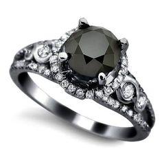 1.95ct Black Round Diamond Engagement Ring 14k Black Gold Rhodium Plating Over White Gold