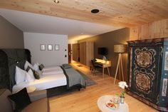 Admonter larch basic floors and elements at Hotel Bichlhof in Kitzbühel, Austria Hotel Interiors, Austria, Architects, Designer, Floors, Bed, Projects, Furniture, Home Decor